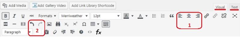 Набор инструментов для редактирования текста.