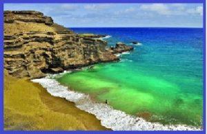 Papakolea - пляж с зеленым песком на Гавайях