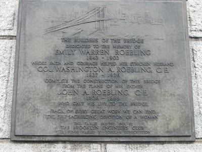 Памятная доска в честь создателей Бруклинского моста