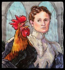 Эмили Уоррен Роблинг и петух-символ победы