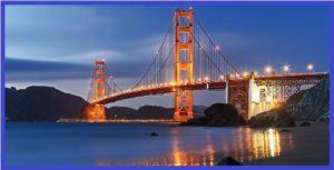 Мост Золотые Ворота в Сан-Франциско ночью