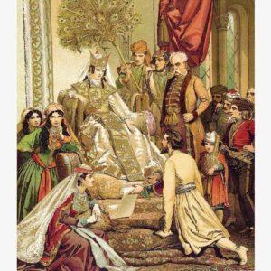 Шота Руставели преподносит свою поэму царице Тамаре