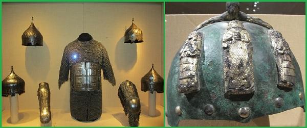 Доспехи туркменских воинов. Серебро, золото. XV в. и шлем. Иран XIV в.