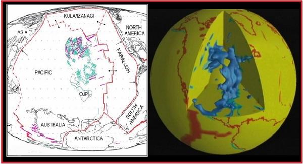 Плита Фараллон ранее и сегодня (OJP - Ontong Java Plateau)