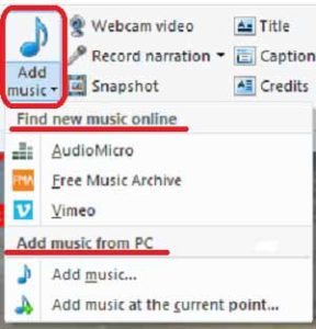 Add music drop down menu
