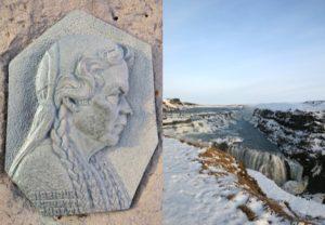 Памятник Сигридур Томасдоттир у водопада Гутльфосс