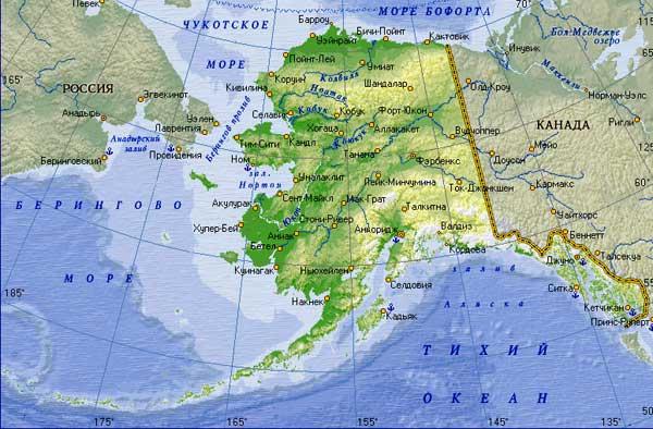 Современная карта штата Аляска