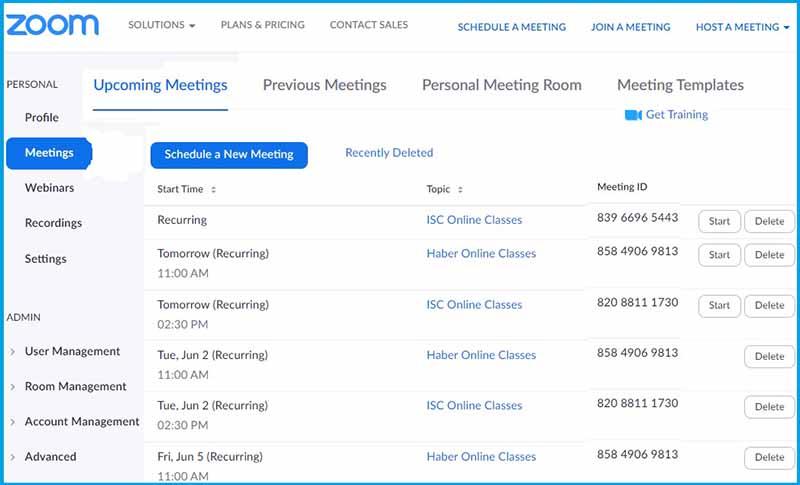 Список запланированных конференций. На Zoom портале.